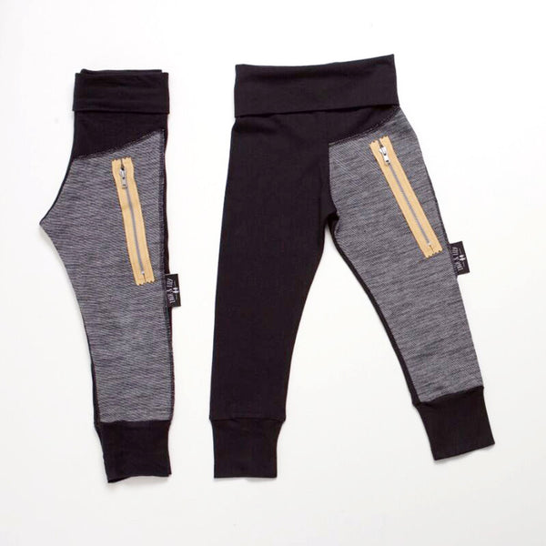 ON SALE NOW !!! Unisex Black/Grey Lined Leggings With Tan Zip