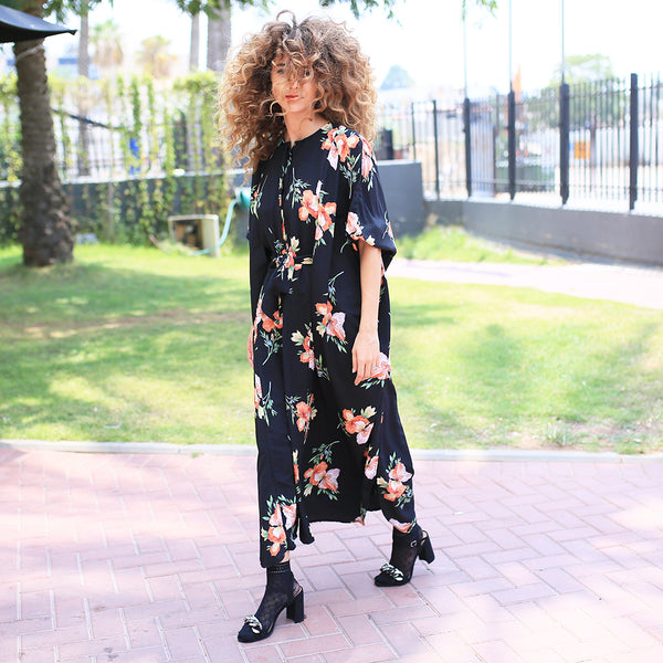 Winter 19 - Maxi Japanese Dress - Black with floral print