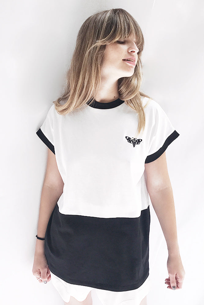 White T-Shirt with Butterfly embroidery