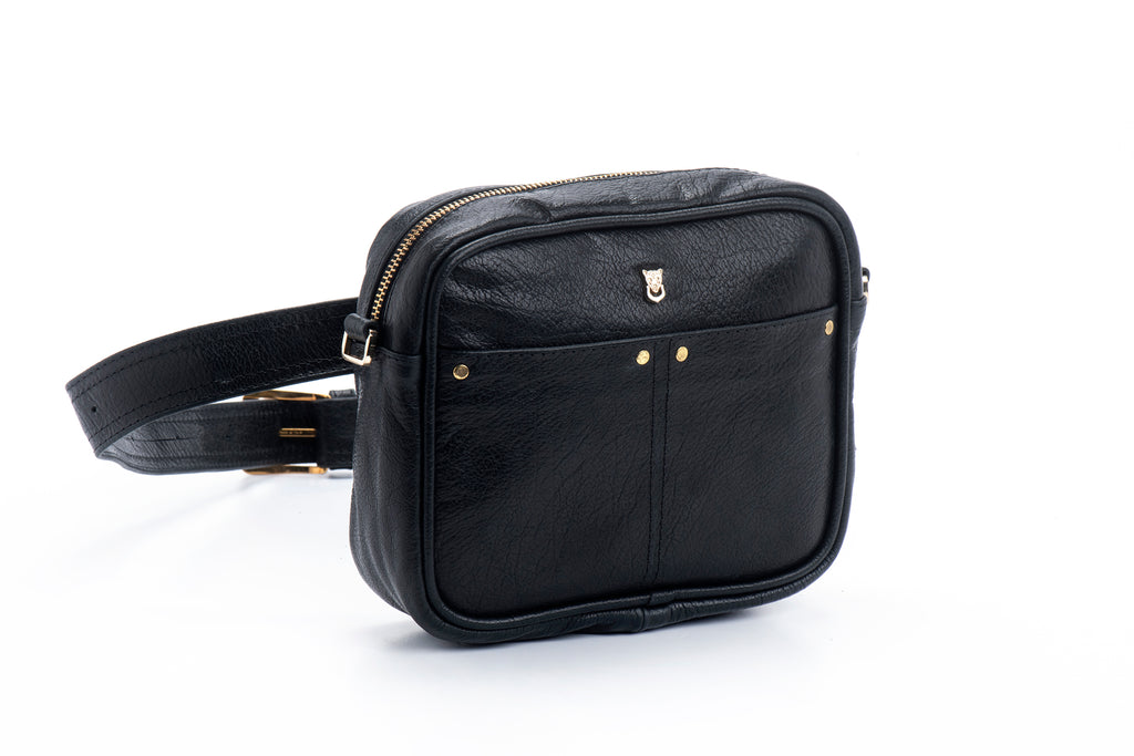 Leather bum bag and cross-body bag