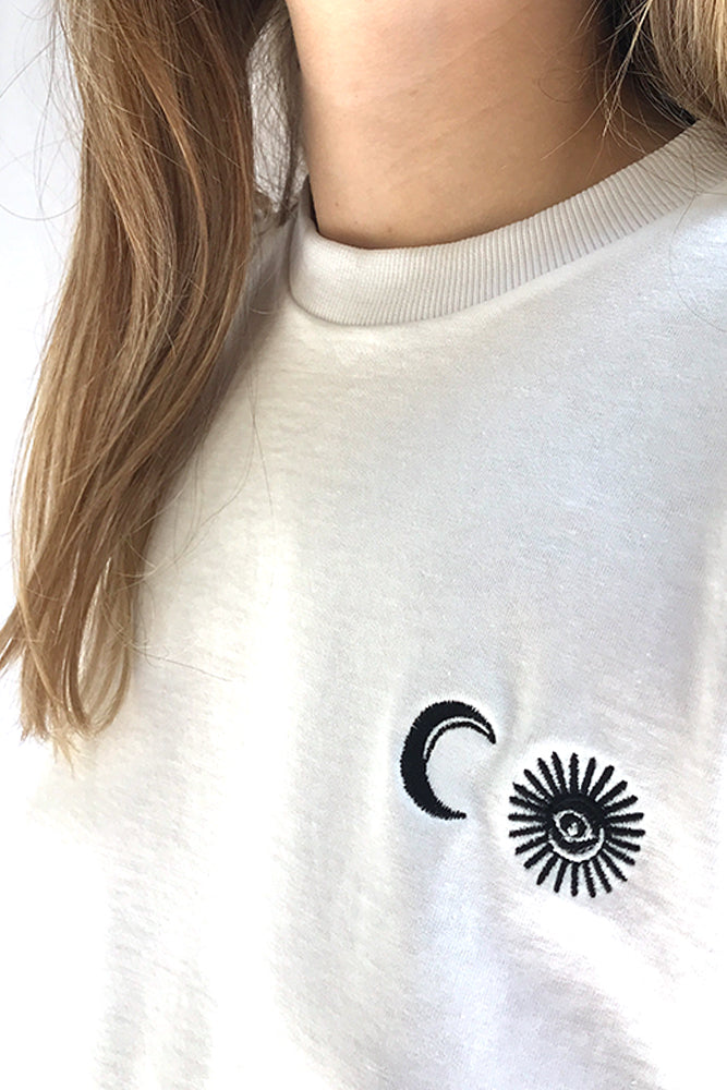 White T-Shirt with Sun and Moon embroidery