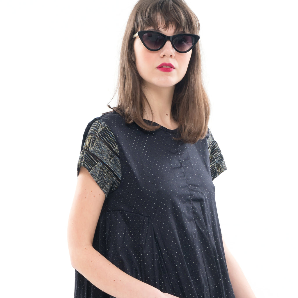 Black with gold dots Hanale Dress