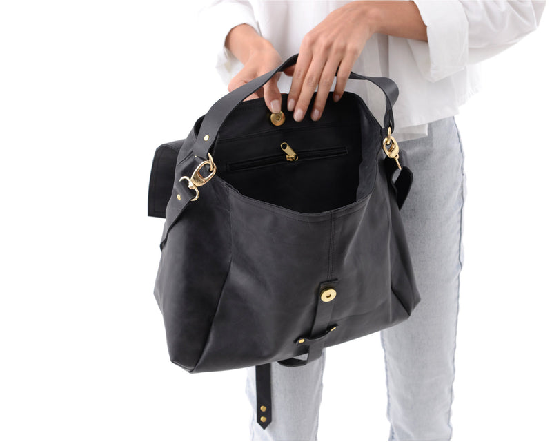 Leather Hobo Handbag