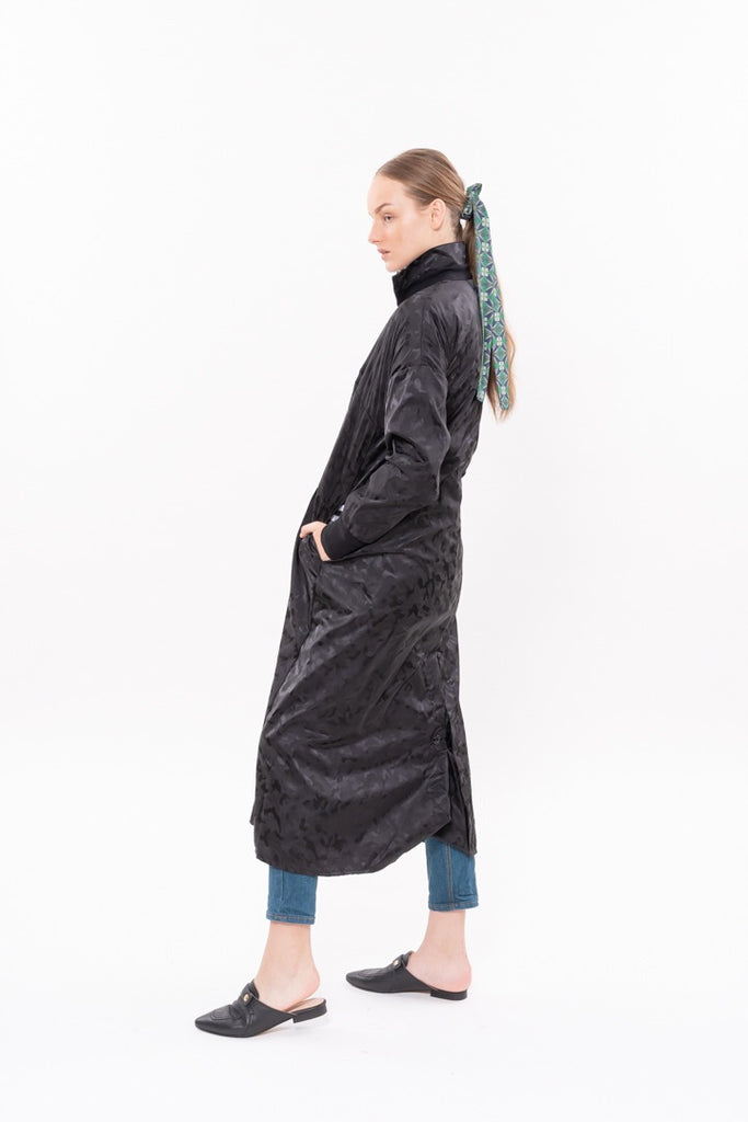 Winter 20 - Parsa Trench Coat - Black Leopard Nylon