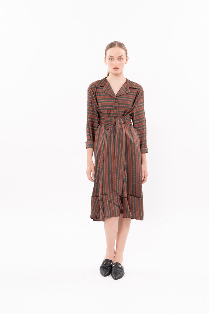 Winter 20 - Nurse Dress - Green and Orange stripes