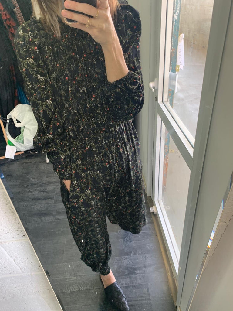 Winter 2021 - Yefet Jumpsuit - Black with Flowers