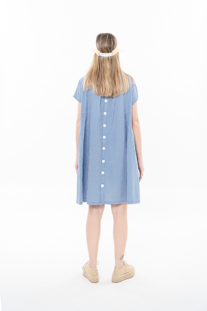 HANALLE DRESS -PALE BLUE CHECKERED