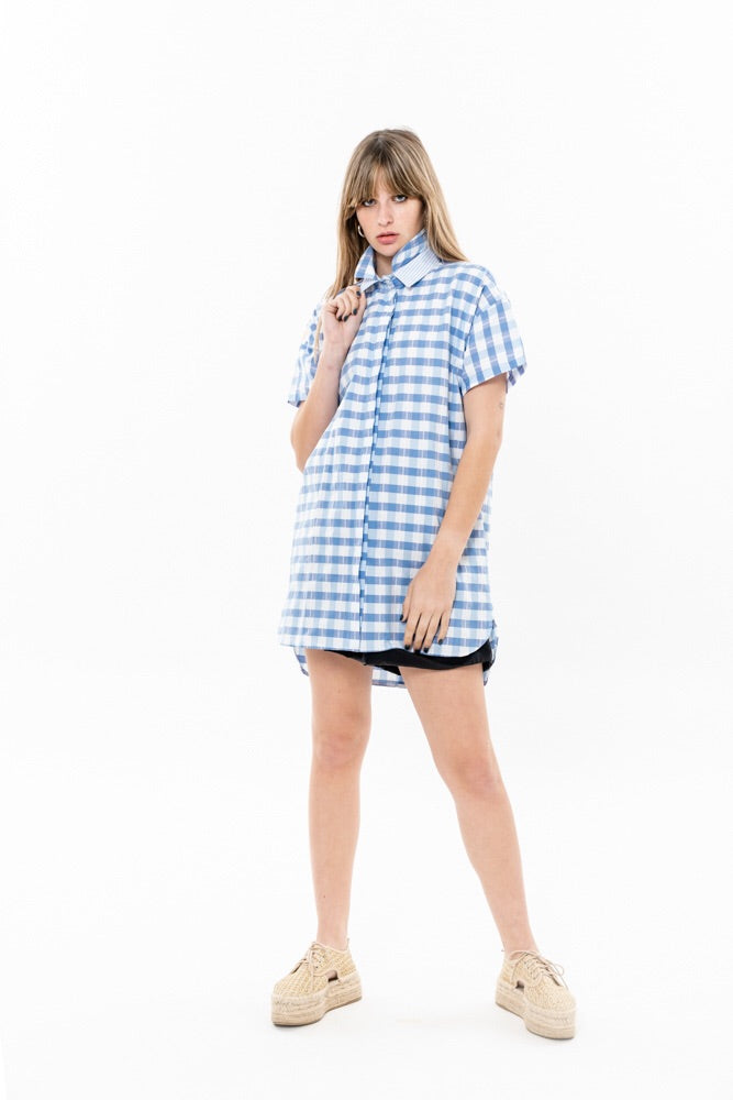 DOU COLLAR - PALE BLUE CHECKERED