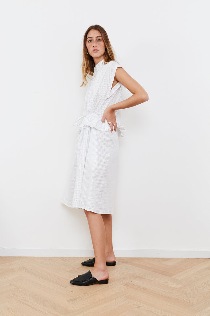 Summer 2020 - Lucca dress - Drawstring Waist dress - White with dots