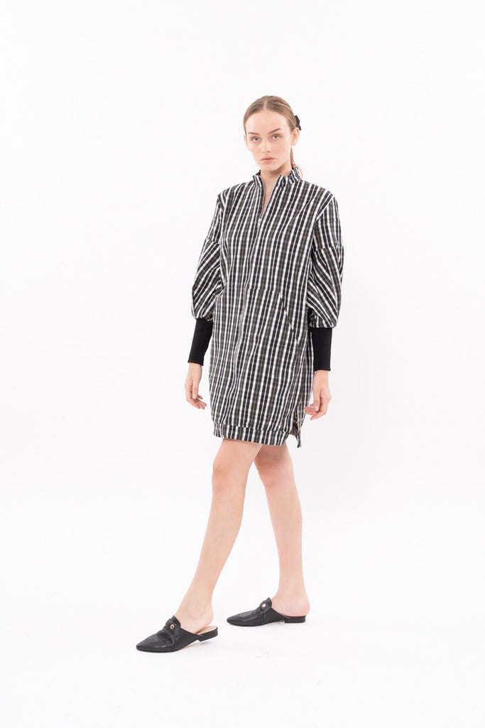 Winter 20 - Zipper coat -Black and Green checkers
