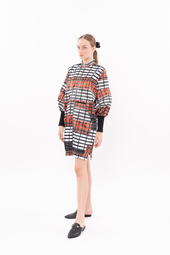 Winter 20 - Zipper coat - Black and orange heckered