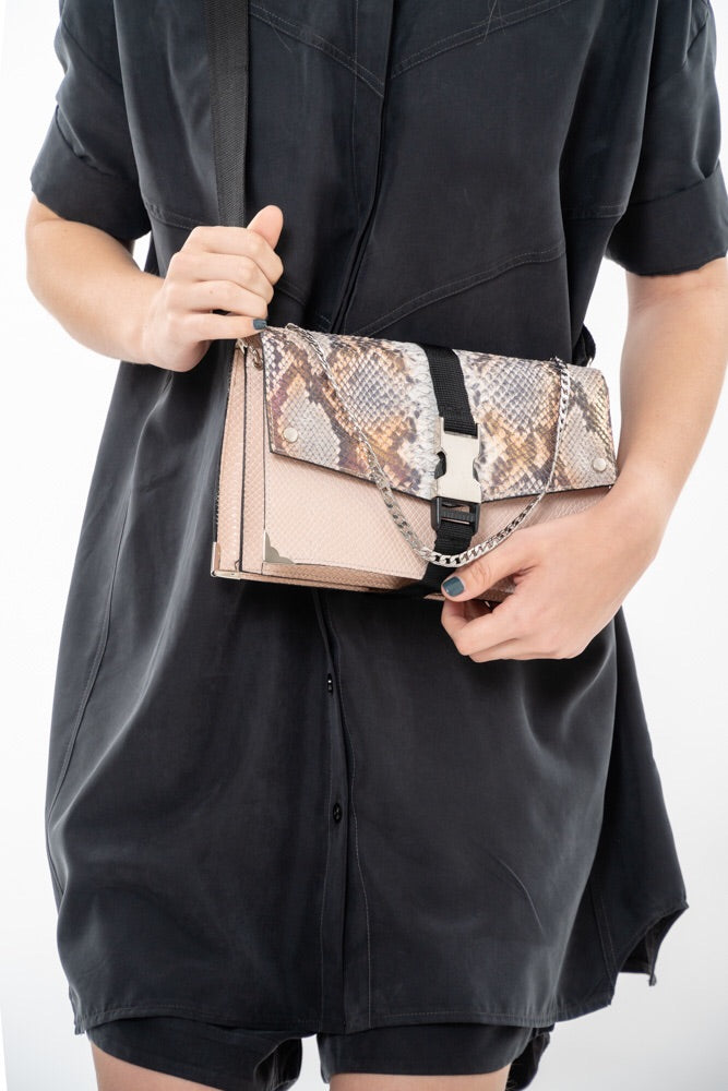 LIRA BAG - BABY PINK WITH SNAKE PRINT