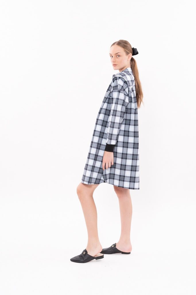 Winter 20 - SPACE DRESS - Pale blue checkered