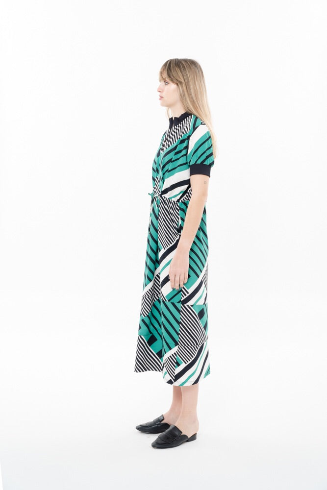 MIDI DRESS - BLACK AND GREEN STRIPES