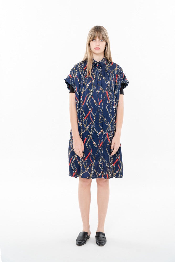 SUMMER CH'I DRESS - BLUE WITH CHAINS PRINT