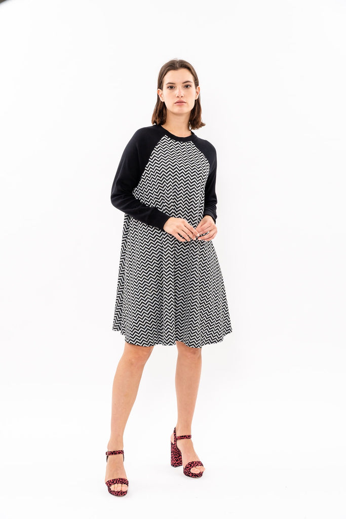 Swing Dress - Silver and black