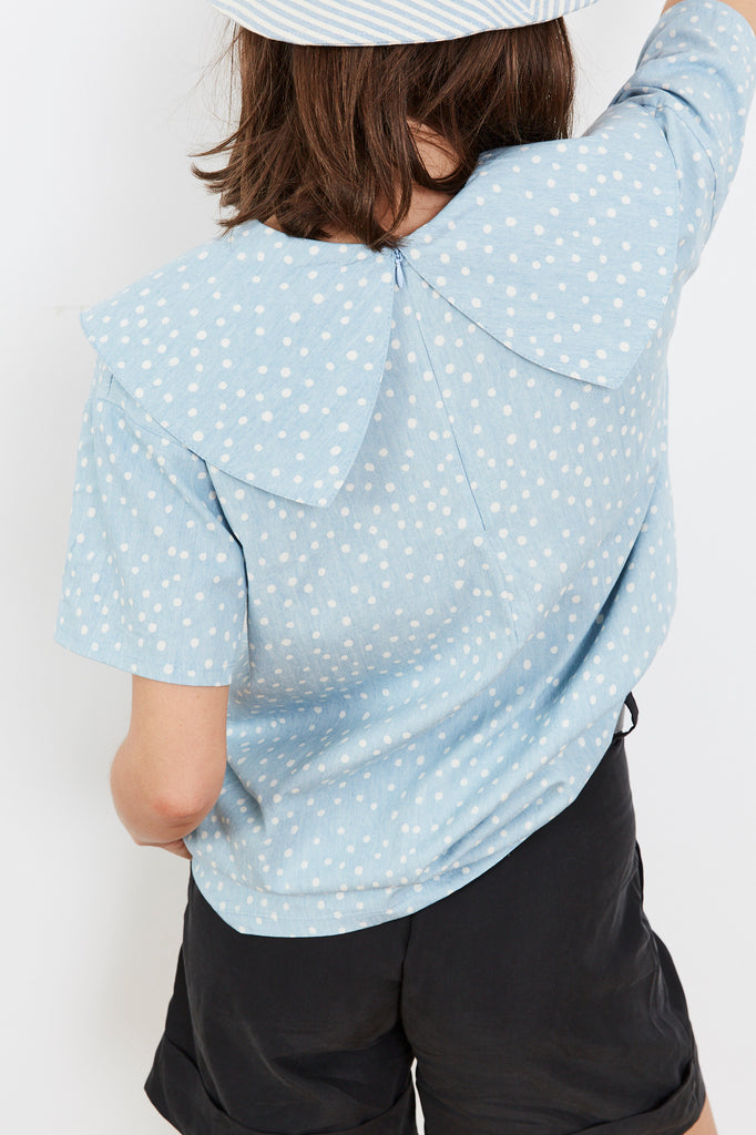 Summer 2020 - Bomb 💣 blouse - Light Denim with dots