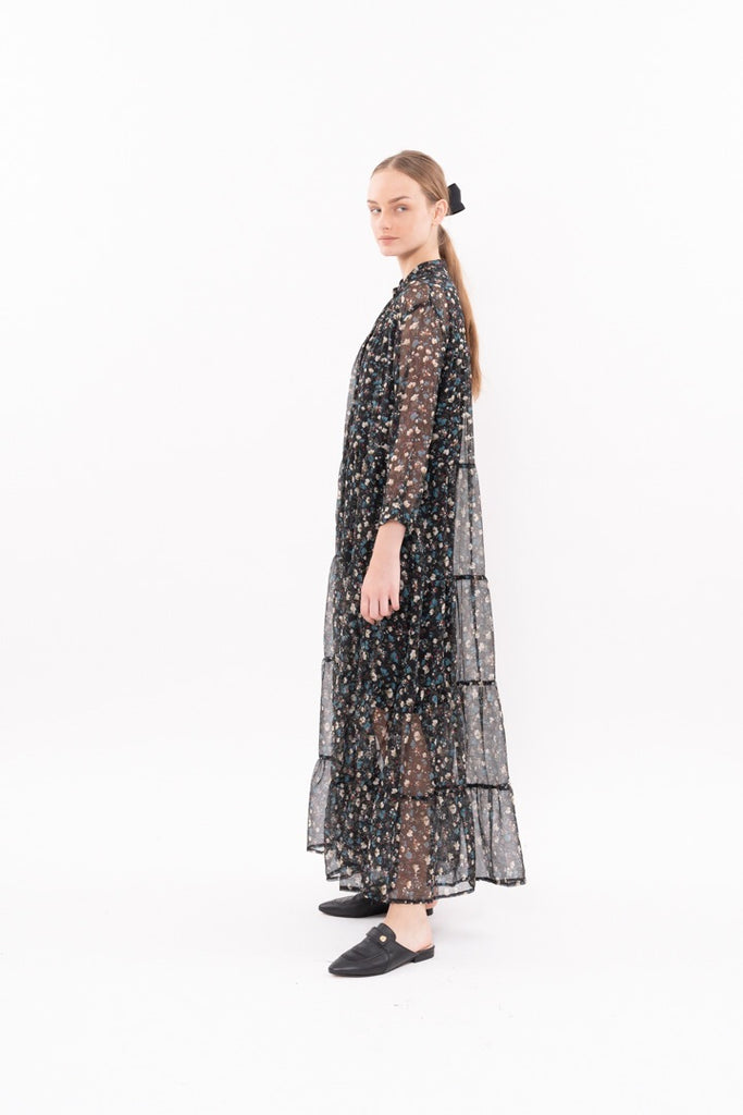 Winter 20 - Martha Dress - black with floral print