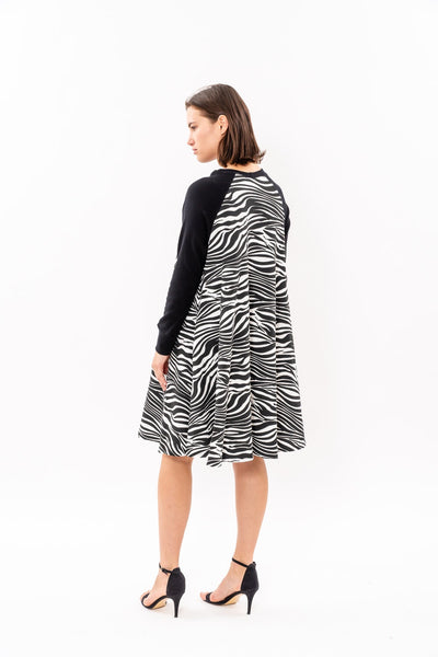 Swing Dress - Black and White (animal print)