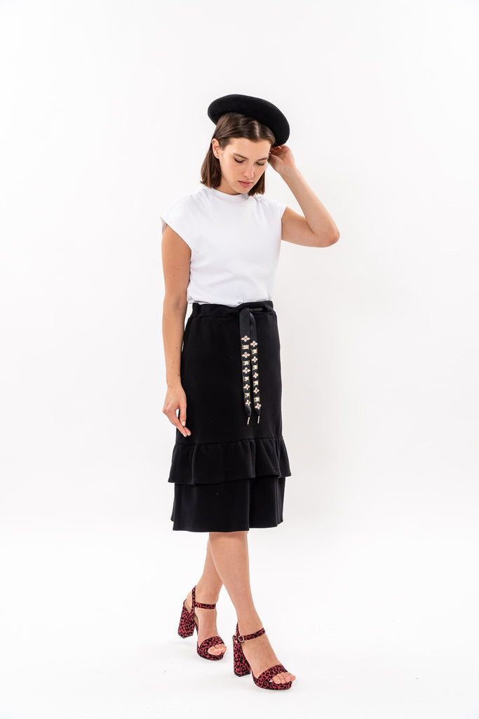 Winter 19 - French Terry Peplum Skirt - Black