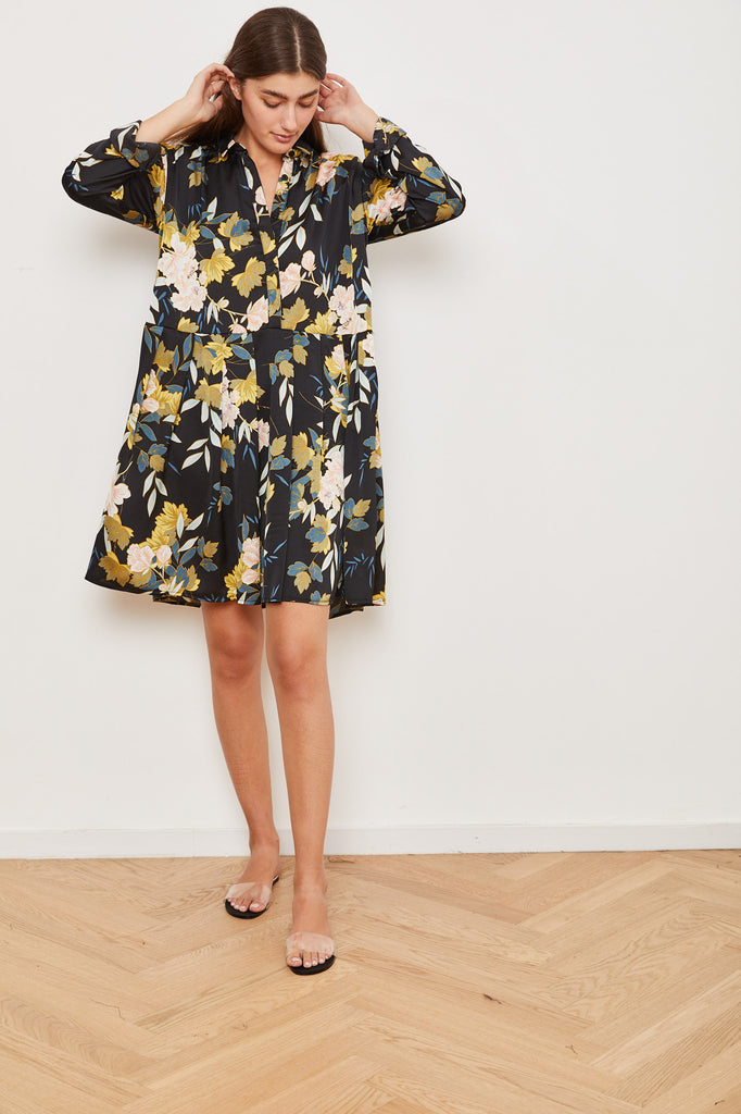 Winter 2021 - Poppi Dress - Black with floral print