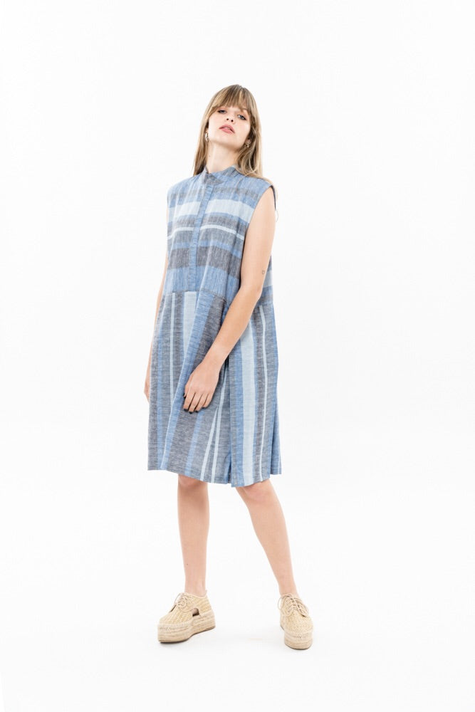 SUZAN DRESS - BLUE AND GRAY STRIPES