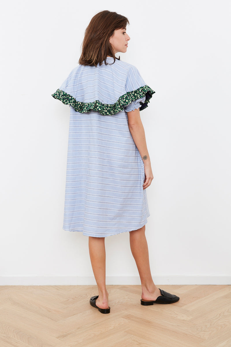 Outlet- Summer 2020- Cape dress in Blue and White stripes