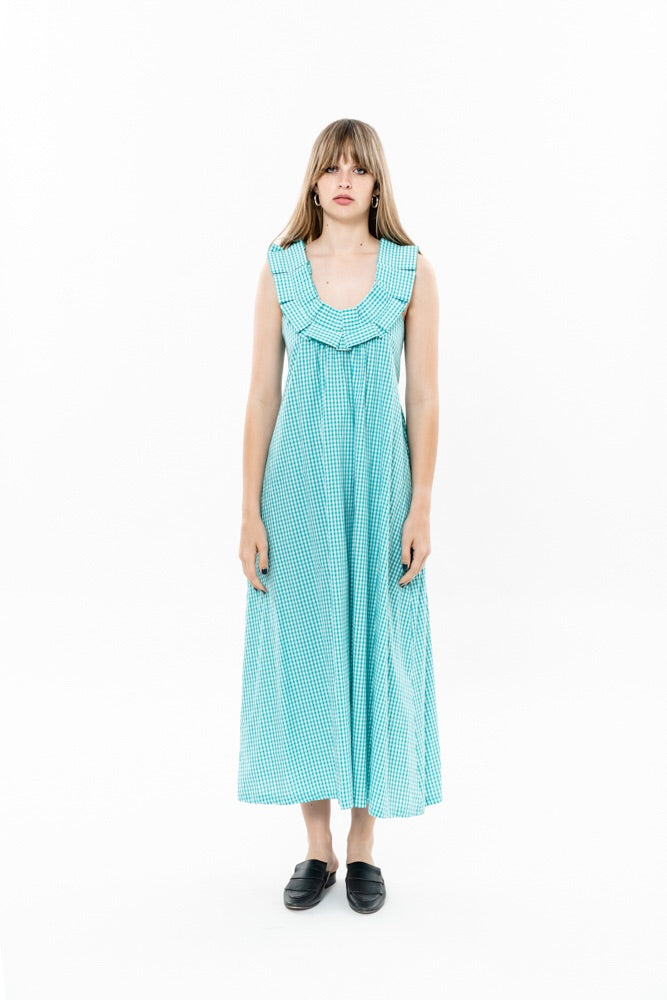 HELENA DRESS - MINT CHECKERED