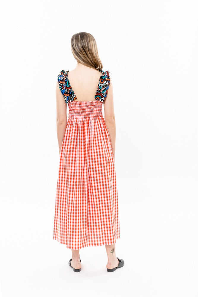 HELENA DRESS - ORANGE CHEACKERED