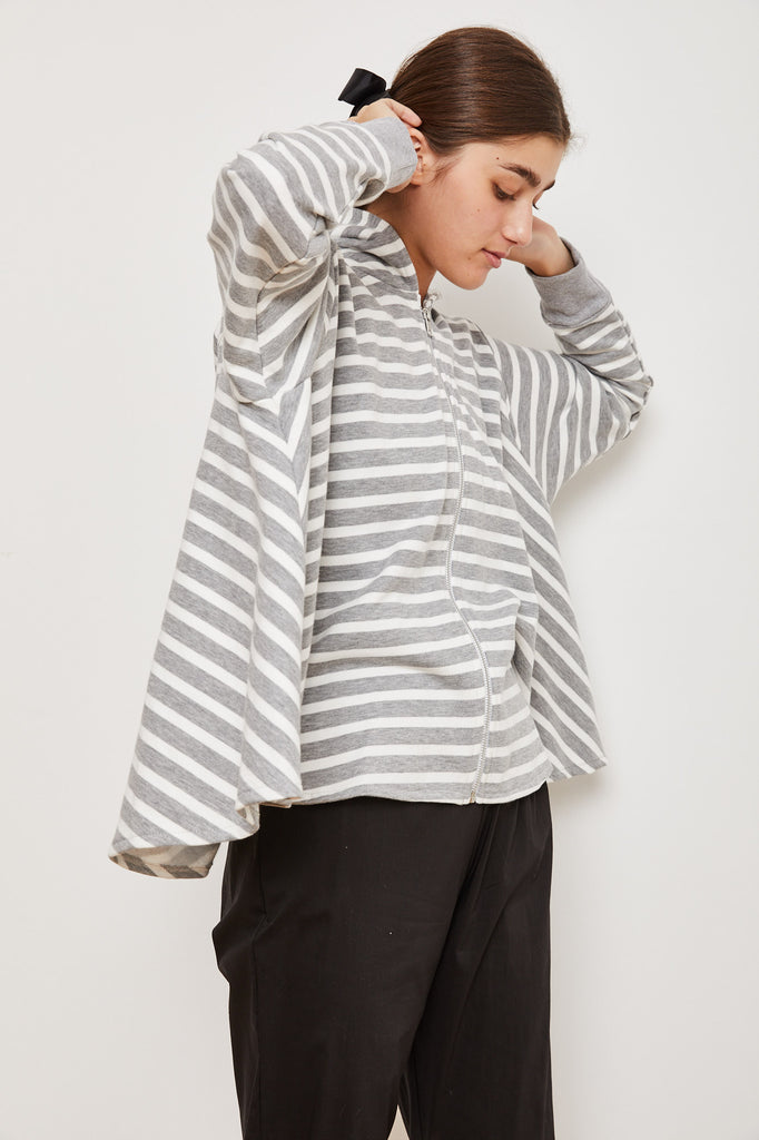 Winter 2021 - The Bun zip up hoodie - white and Gray striped