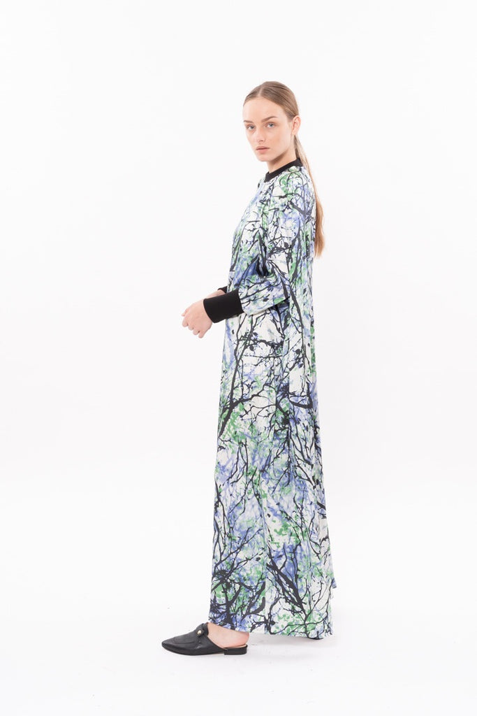 Winter 20- Long sleeves Silky dress - pale blue and green