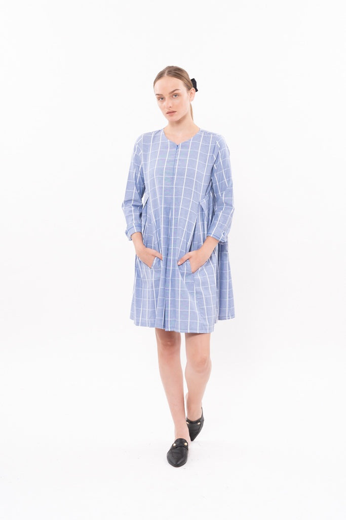 Winter 20 HANALLE DRESS - Pale Blue checkered