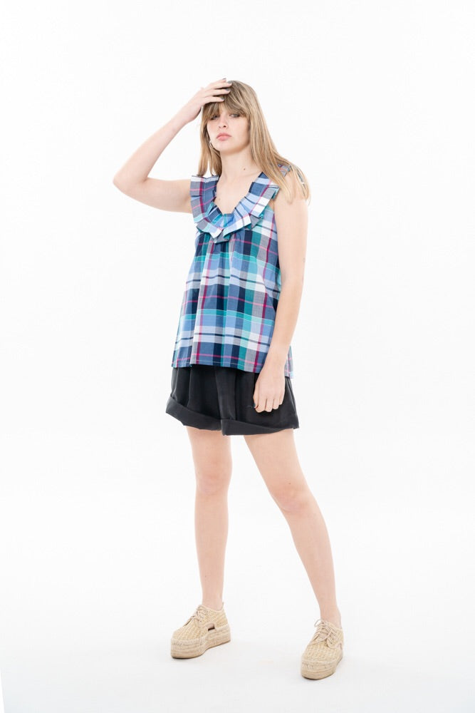 HELENA VEST - COLORFUL CHECKERED