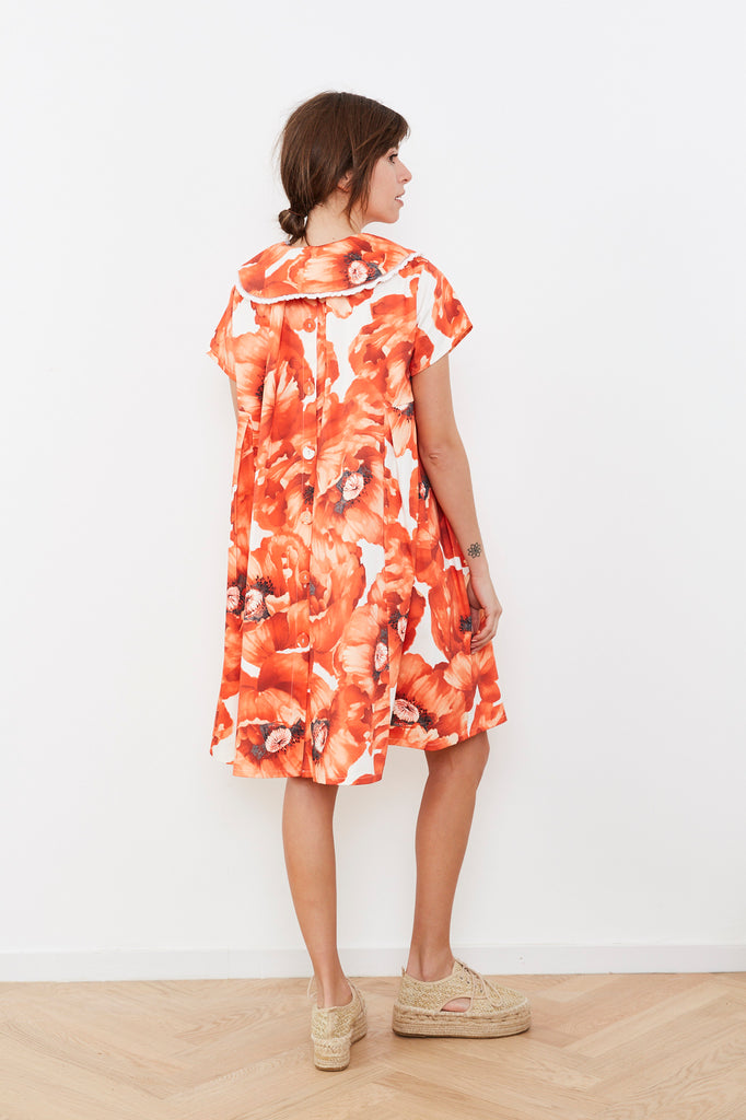 Summer 2020- Red flowers print Hanale Dress with detachable collar