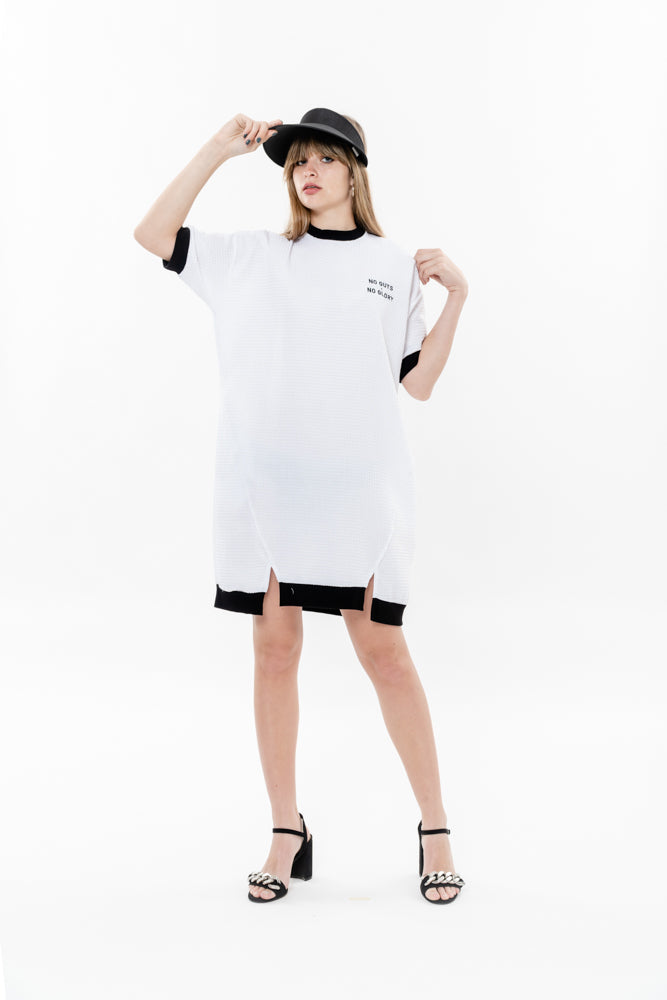 NG SWEATSHIRT DRESS - WHITE