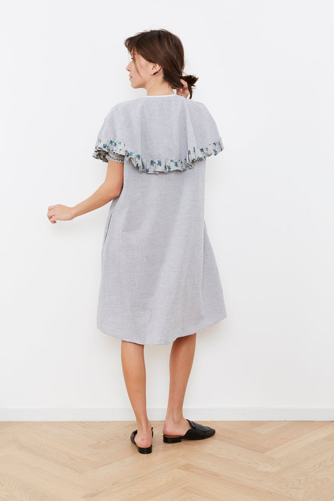 Summer 2020- Cape dress in Grey and white stripes