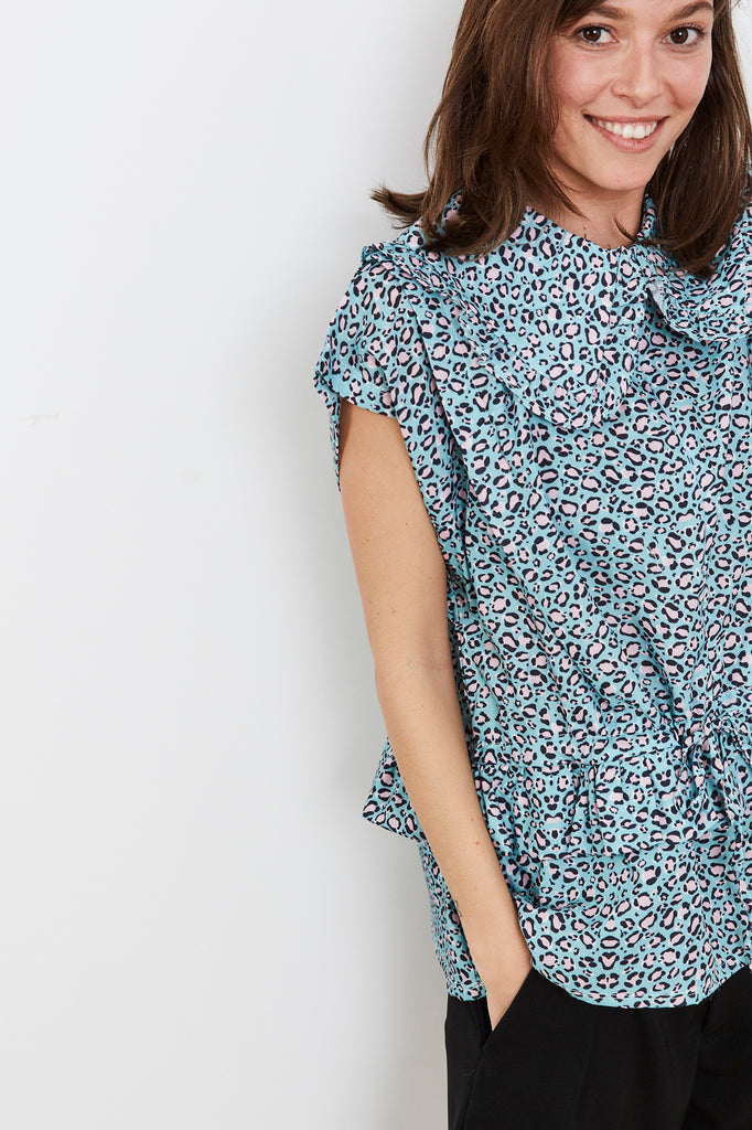 Summer 2020- Lucca shirt  - pale blue with leopard print