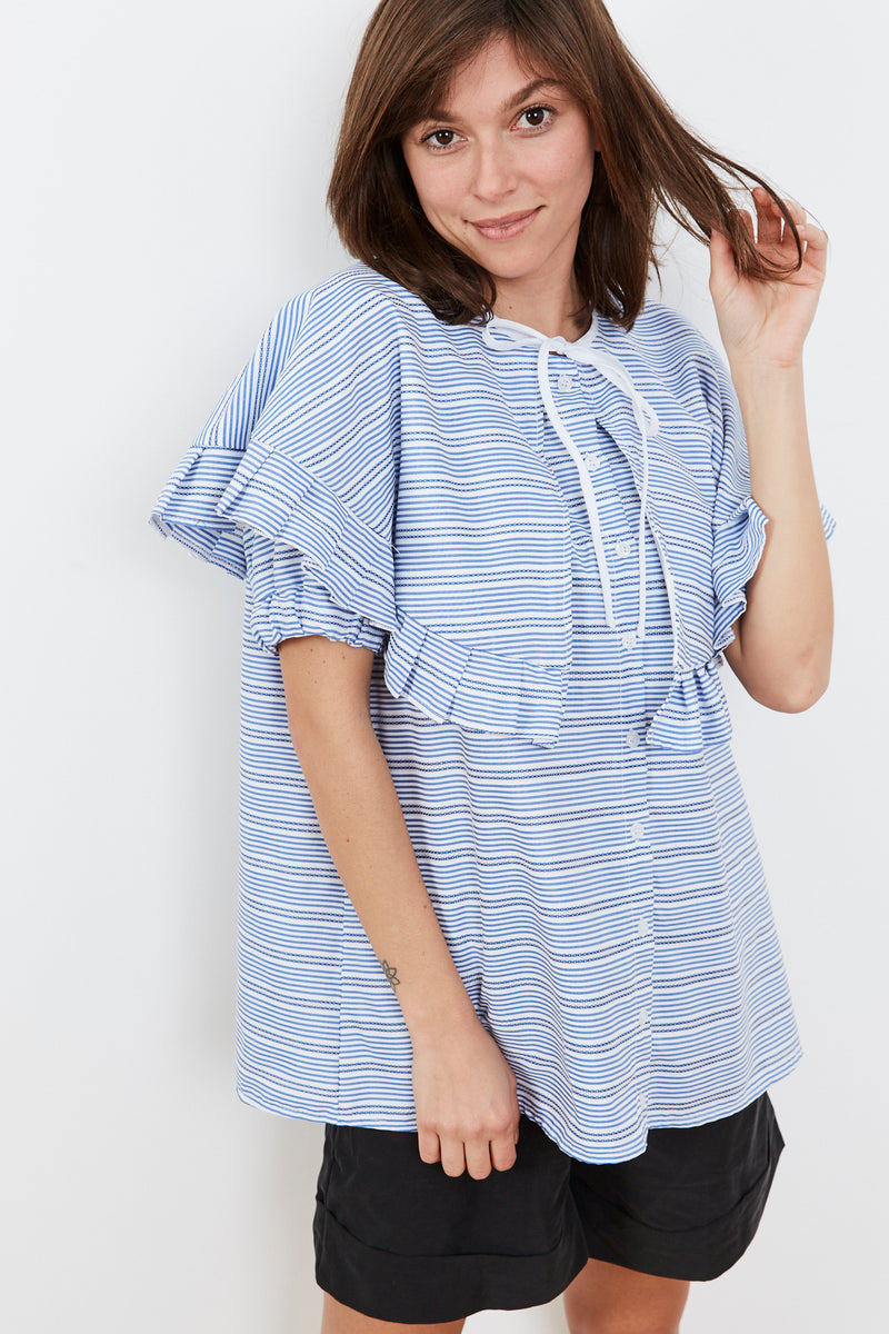 Outlet- Summer 2020- Cape shirt in Blue and White stripes