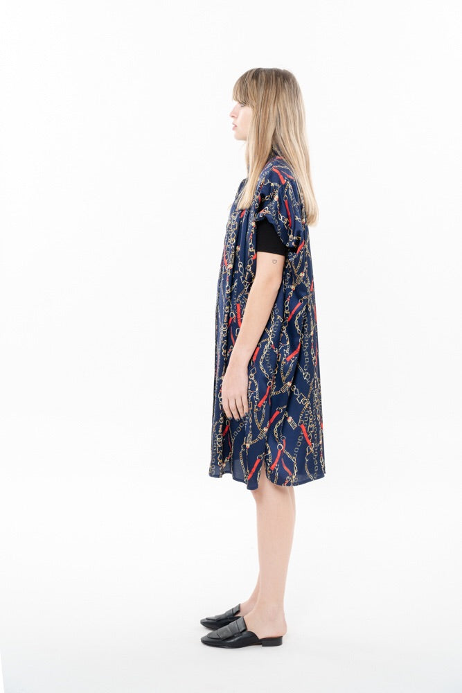 SUMMER CHI DRESS - BLUE WITH CHAINS PRINT