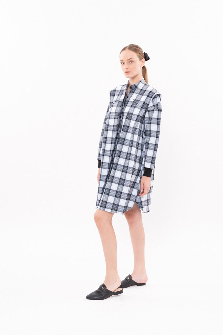 Outlet- Winter 20 - SPACE DRESS - Pale blue checkered