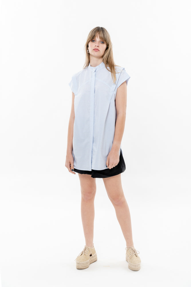 SPACE SHIRT - PALE BLUE STRIPES
