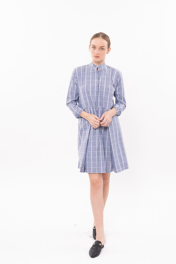 Winter 20 - SUZAN DRESS - Pale blue checkered