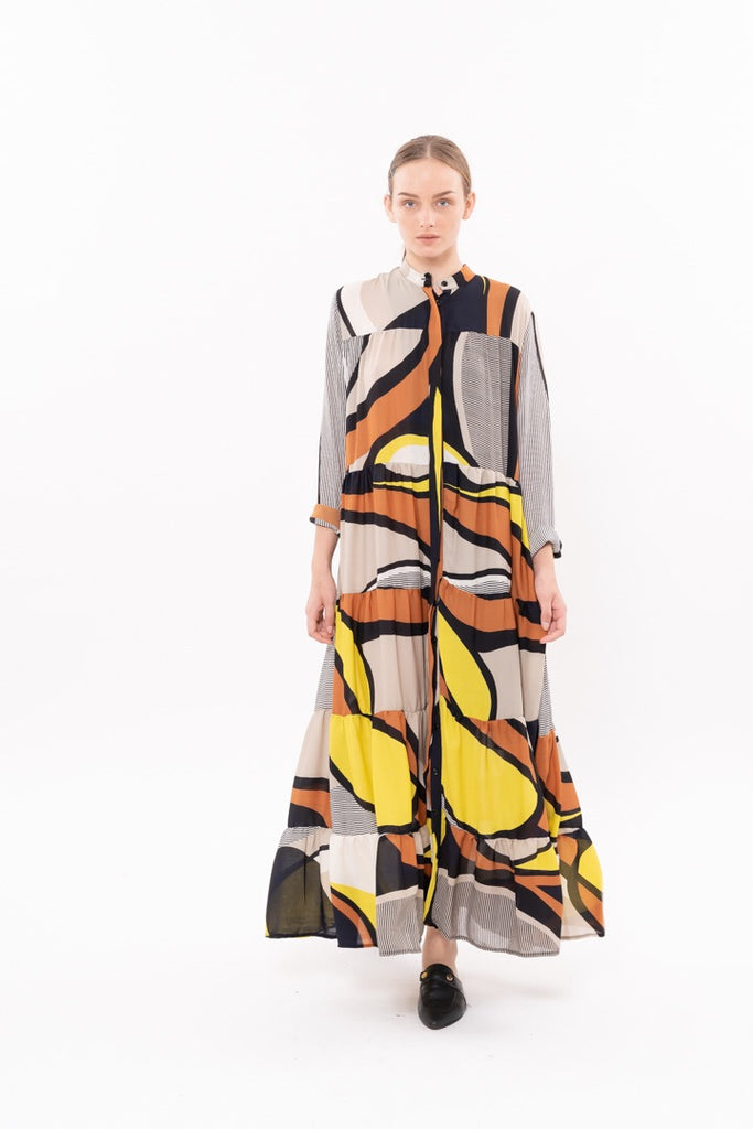 Winter 20 - Martha Dress - Geometric Brown and Yellow