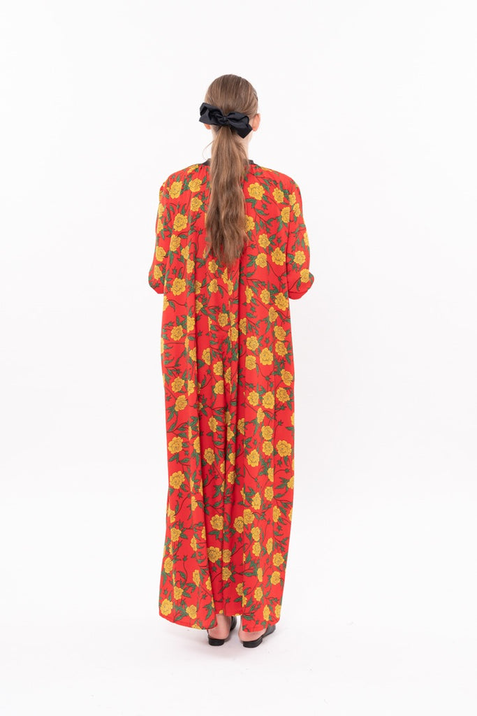 Winter 20- Long sleeves Silky dress Red print