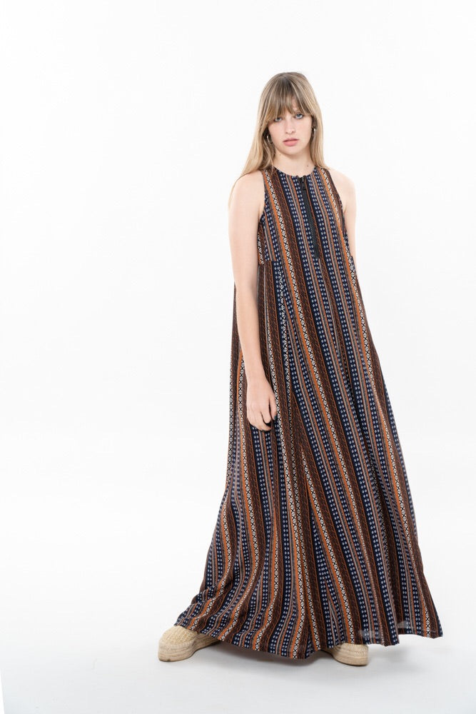 ZIPPER FLOW DRESS - ETHNIC
