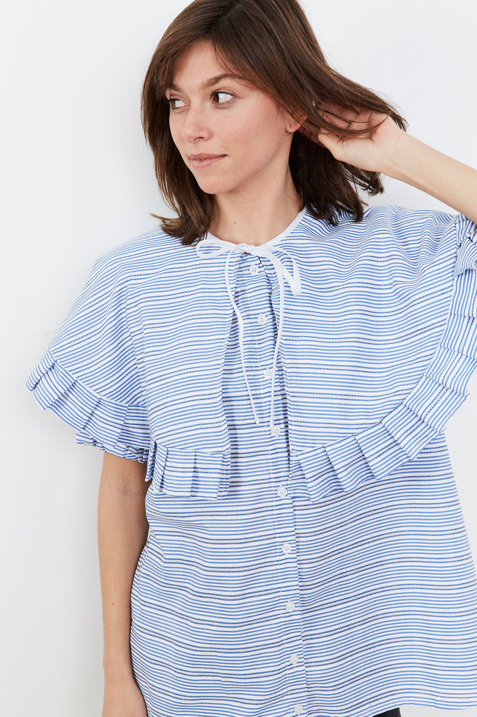 Summer 2020- Cape shirt in Blue and White stripes