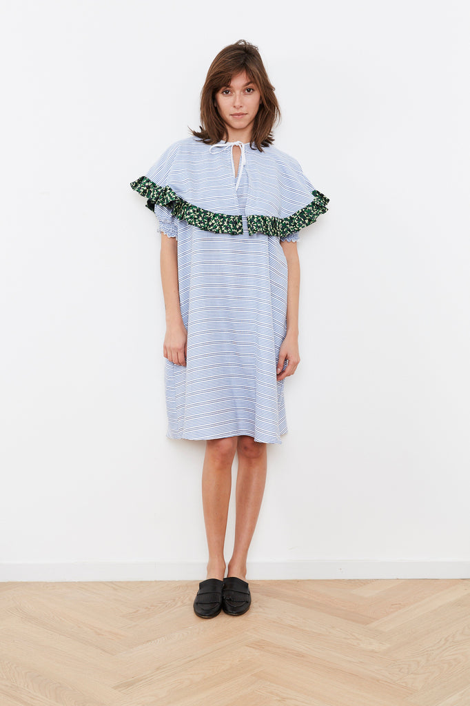 Summer 2020- Cape dress in Blue and White stripes