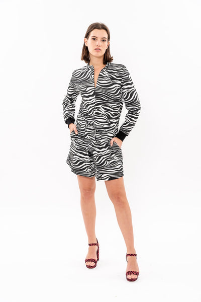 Winter 19 -  Long sleeves short Jumpsuit - Black and White