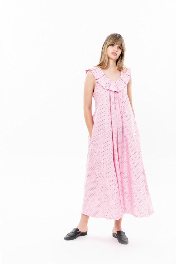 HELENA DRESS - PINK WITH DOTS