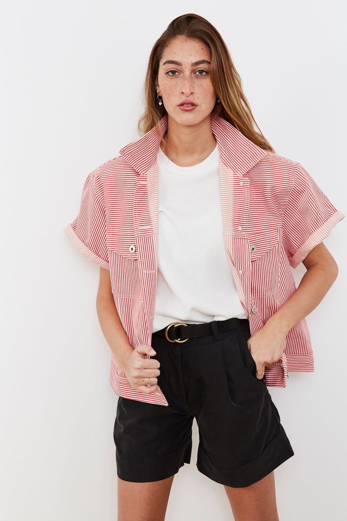 Summer 2020 - Denim jacket - Red stripes